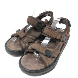 MBT Kisumu Brown Suede Rocker Toning Sandals